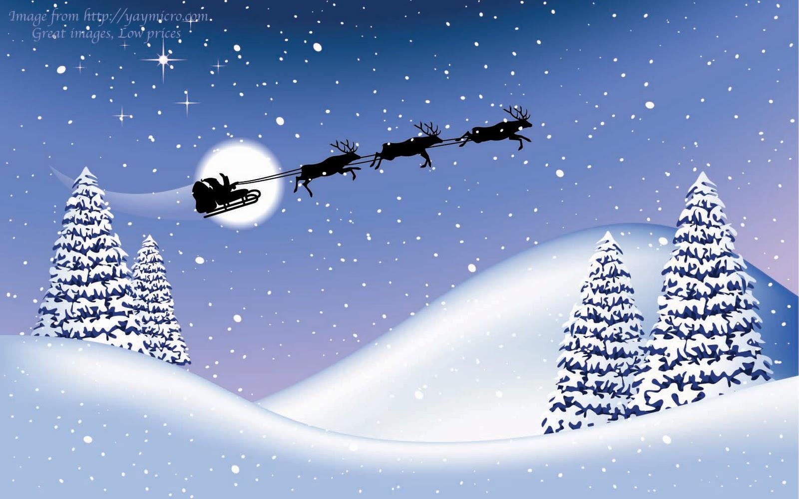 14 christmas wallpapers free santa claus and reendiers flying wallpaper